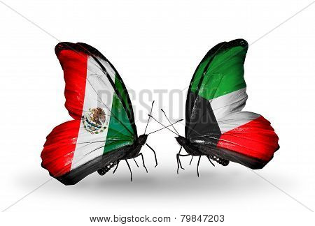 Two Butterflies With Flags On Wings As Symbol Of Relations Mexico And Kuwait