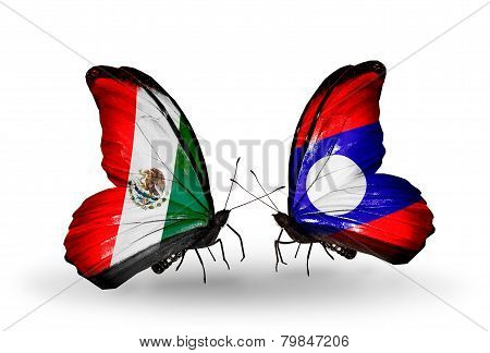 Two Butterflies With Flags On Wings As Symbol Of Relations Mexico And Laos