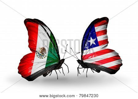 Two Butterflies With Flags On Wings As Symbol Of Relations Mexico And Liberia