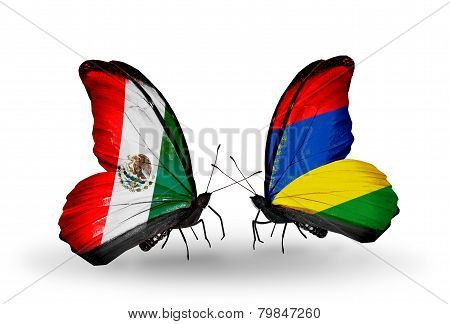 Two Butterflies With Flags On Wings As Symbol Of Relations Mexico And Mauritius