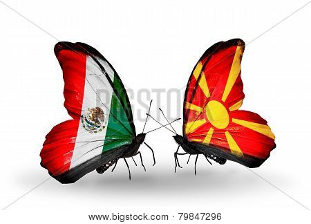 Two Butterflies With Flags On Wings As Symbol Of Relations Mexico And Macedonia