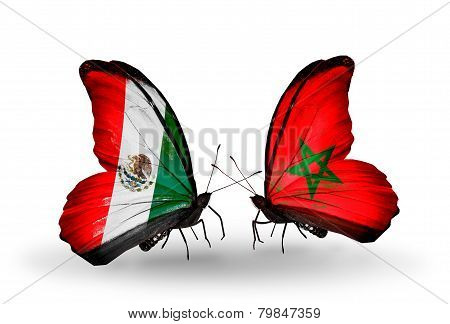 Two Butterflies With Flags On Wings As Symbol Of Relations Mexico And Morocco