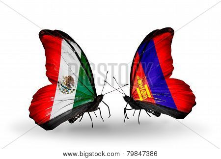 Two Butterflies With Flags On Wings As Symbol Of Relations Mexico And  Mongolia