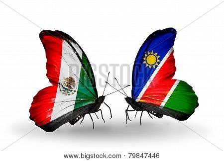 Two Butterflies With Flags On Wings As Symbol Of Relations Mexico And  Namibia