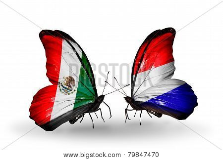 Two Butterflies With Flags On Wings As Symbol Of Relations Mexico And  Holland