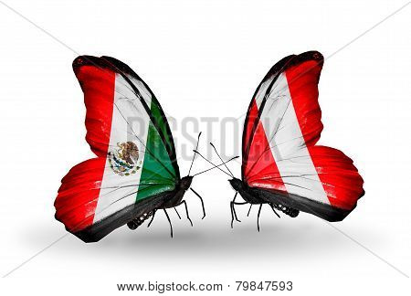 Two Butterflies With Flags On Wings As Symbol Of Relations Mexico And Peru
