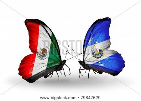 Two Butterflies With Flags On Wings As Symbol Of Relations Mexico And Salvador