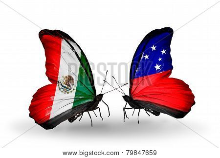 Two Butterflies With Flags On Wings As Symbol Of Relations Mexico And Samoa