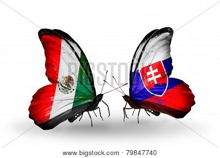 Two Butterflies With Flags On Wings As Symbol Of Relations Mexico And Slovakia