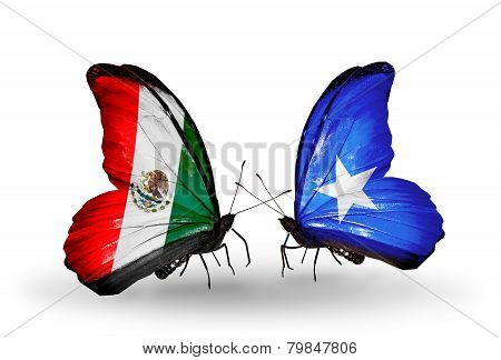 Two Butterflies With Flags On Wings As Symbol Of Relations Mexico And Somalia