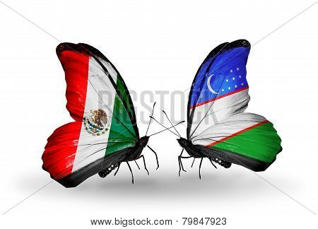 Two Butterflies With Flags On Wings As Symbol Of Relations Mexico And  Uzbekistan