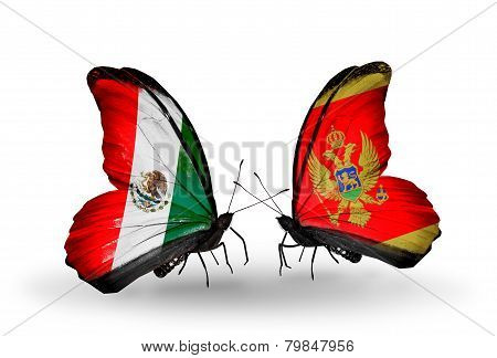 Two Butterflies With Flags On Wings As Symbol Of Relations Mexico And Montenegro