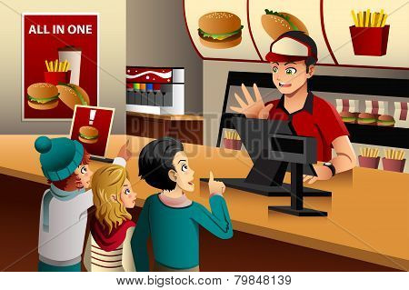 Kids Ordering Food At A Restaurant