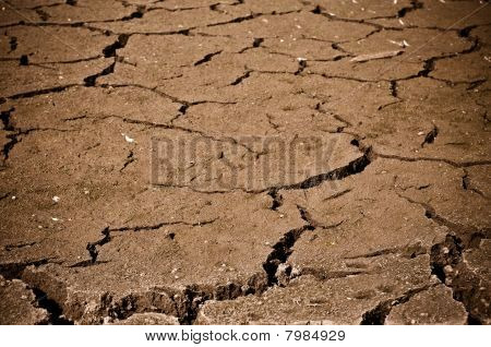 Large Crack In Ground Or Dirt