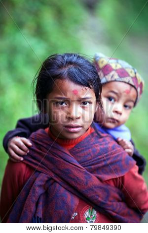 Gurung children, Nepal