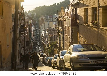 BARCELONA, SPAIN - DEC 25, 2014: One of the streets in Barcelona. Barcelona is the capital city of Catalonia in Spain and the country's 2nd largest city, with a population of 1.6 million.