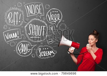 Pretty girl yelling into megaphone and hand drawn speech bubbles come out