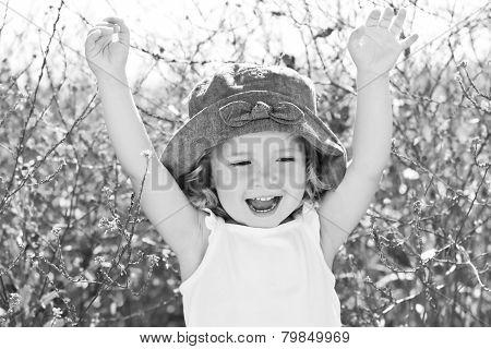 Happy Funny Little Girl In Rape Field