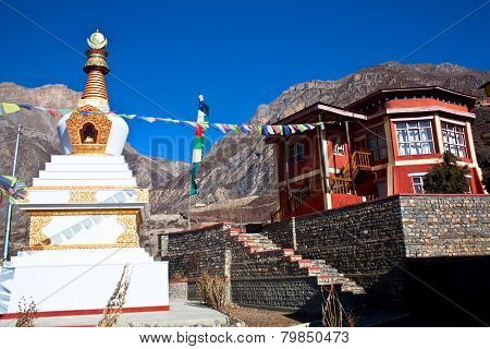 Buddhist Gompa And Monastery In Muktinath, Nepal