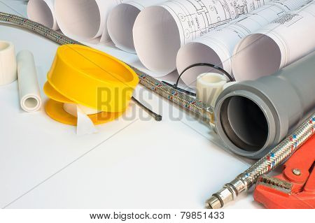 Drawing rolls, plumbing hardware tools, appliances and materials composition