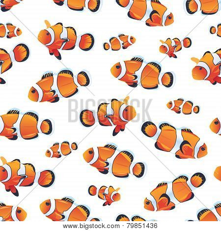 Amphiprioninae (Clownfish) white seamless vector pattern