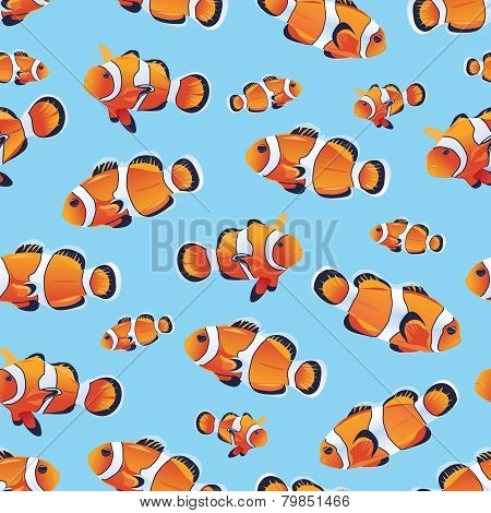 Anemonefish (Clownfish) cyan seamless vector pattern