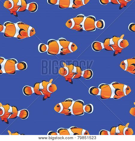 Amphiprioninae (Clownfish) blue seamless vector pattern