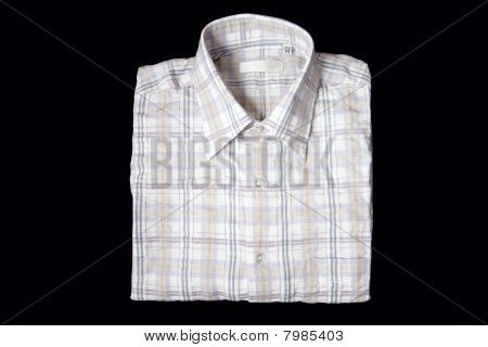 Men Shirt With Short Sleeves Isolated At Black Background