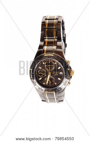 Hayward, CA - September 22, 2014: Black and gold Pulsar Wristwatch