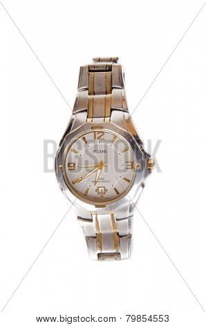 Hayward, CA - September 22, 2014: Silver and gold Pulsar Wristwatch