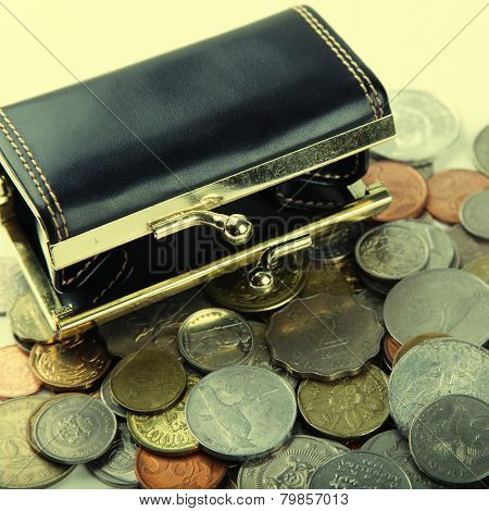 Black Purse With Coin Of Different Countries
