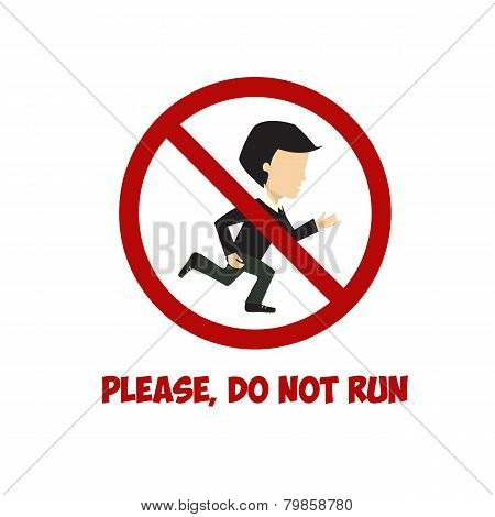 No run sign, vector flat illustration