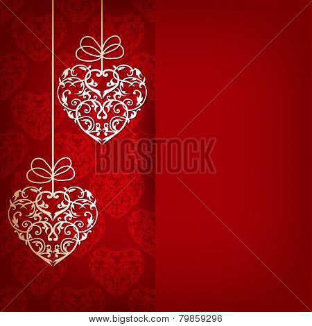Card With Ornament With Hearts