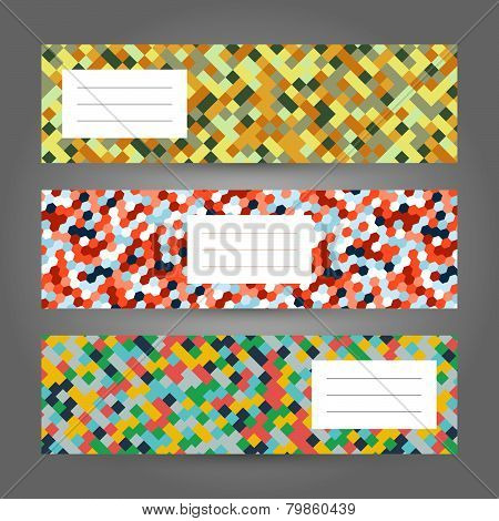Set of horizontal  Colorful Banners. Abstract Geometric ornament. Vector Illustration.