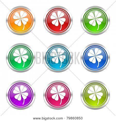 four-leaf clover icons set