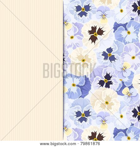 Card with blue pansy flowers. Vector eps-10.