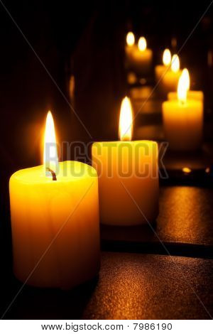 Candles in a mirror
