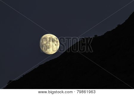 Moonrise Over A Silhouetted Ridge