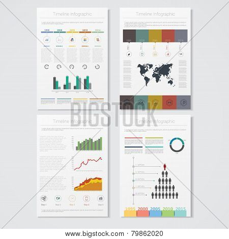 Vector illustrations of modern info graphics. Use in website, flyer, corporate report, presentation,