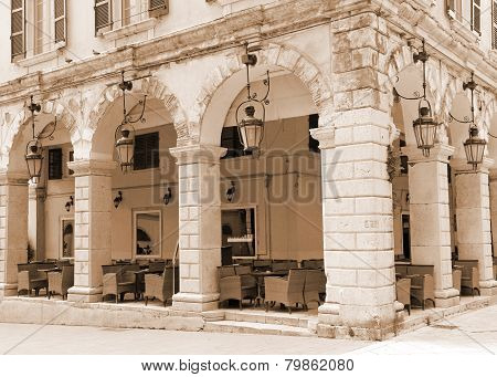 Greece. Corfu. Corfu Town. An Open-air Cafe. Sepia