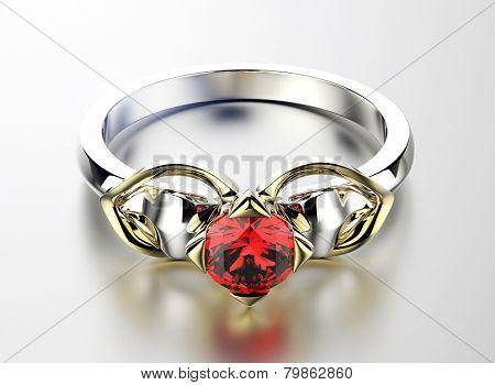 Golden Ring with Diamond. Jewelry background. Garnet