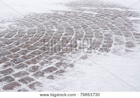 Street Tiles With Snow
