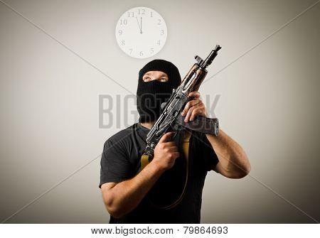 Man With Gun And Clock.