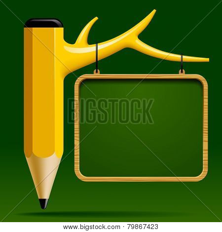 Education design with Tree pencil and Blackboard on green background. Back to school concept.