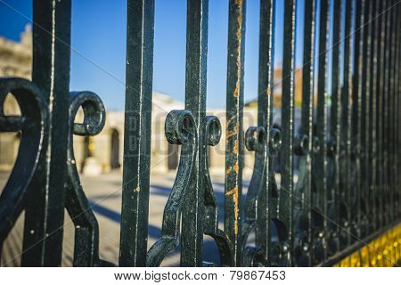Iron fence, Royal Palace of Madrid, located in the area of the Habsburgs, classical architecture