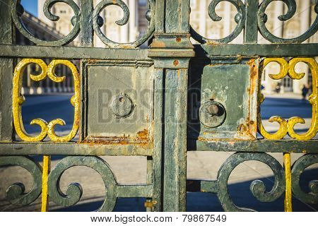 Iron gate, Royal Palace of Madrid, located in the area of the Habsburgs, classical architecture