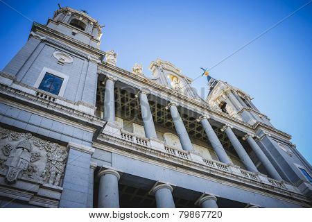 Main facade, Almudena Cathedral, located in the area of the Habsburgs, classical architecture