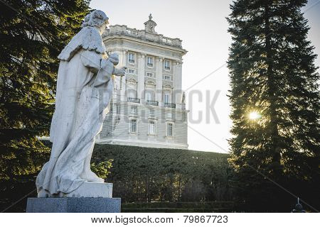 Sculpture, Royal Palace of Madrid, located in the area of the Habsburgs, classical architecture