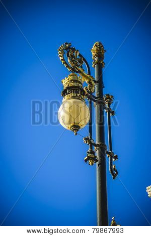 Street lamp, Royal Palace of Madrid, located in the area of the Habsburgs, classical architecture