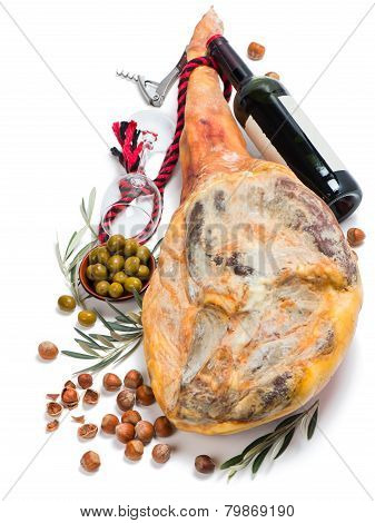 Ham, Olives, Wine And Hazelnuts